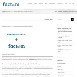 HealthNautica + Factom Announce Partnership – Factom