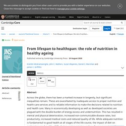 From lifespan to healthspan: the role of nutrition in healthy ageing