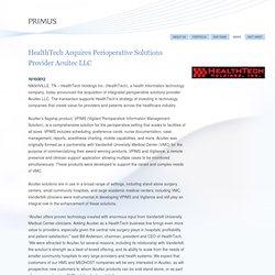 HealthTech Acquires Perioperative Solutions Provider Acuitec LLC