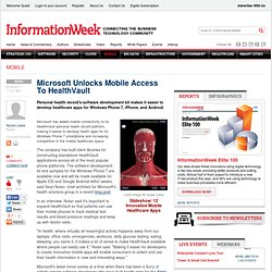 Microsoft Unlocks Mobile Access To HealthVault