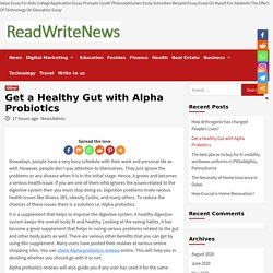 Get a Healthy Gut with Alpha Probiotics