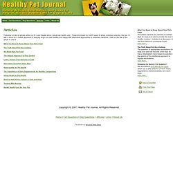 Healthy Pet Journal - Natural, Holistic Health Care for Dogs & Cats