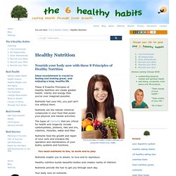 Healthy Nutrition: Giving your body the nutrients it needs.