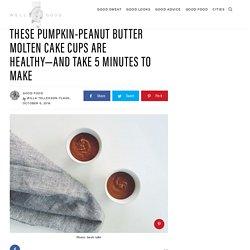 Healthy peanut butter pumpkin molten cake cups