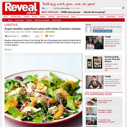 Super-healthy superfood salad with white Cheshire cheese