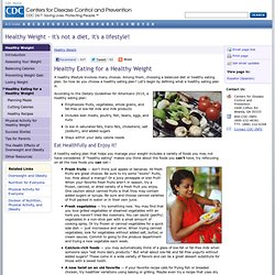 Healthy Weight: Healthy Eating for a Healthy Weight