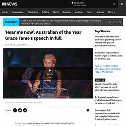 'Hear me now': Australian of the Year Grace Tame's speech in full