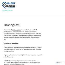 Hearing Loss – Hearing Solution