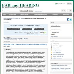Hearing in Time: Evoked Potential Studies of Temporal Proce... : Ear and Hearing
