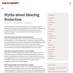 Myths about Hearing Protection