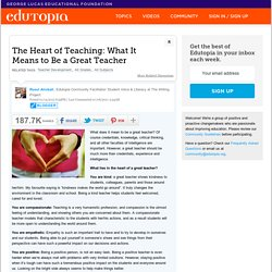 The Heart of Teaching: What It Means to Be a Great Teacher