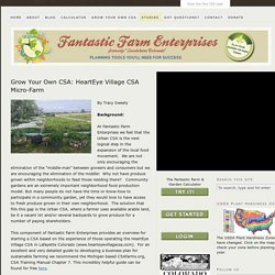 Grow Your Own CSA: HeartEye Village CSA Micro-Farm