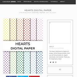 Hearts digital paper - Chevron Lemon