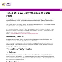 Heavy duty Vehicles and spare parts by AVS Group