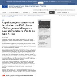 Appel à projets concernant la création de 4000 places d'hébergement d'urgence pour demandeurs d'asile de type AT-SA / Asile