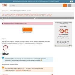 Un serveur d'hébergement multiutilisateur sous Linux