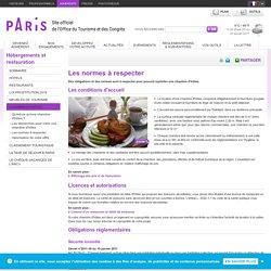 Les normes à respecter - Hébergements et restauration - Office de tourisme Paris