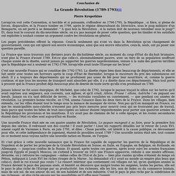 Textes hébergés - Divers - Conclusion de la Grande Révolution