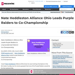 Nate Heddleston Alliance Ohio Leads Purple Raiders to Co-Championship