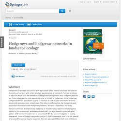 Hedgerows and hedgerow networks in landscape ecology