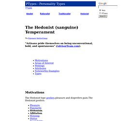 The Hedonist (sanguine) Temperament