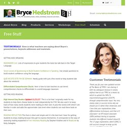 Free Stuff - Bryce Hedstrom - TPRS Materials & Training