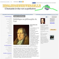 HEGEL - Esthetique - Philosophie de l'art