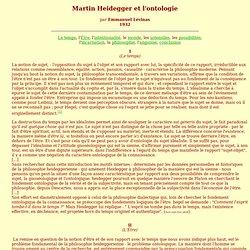 Martin Heidegger et l'ontologie par Emmanuel Lévinas