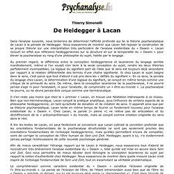 De Heidegger à Lacan