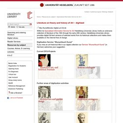 Heidelberg University Library: Literature on theory and history of Art – digitized