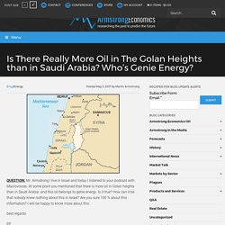 Is There Really More Oil in The Golan Heights than in Saudi Arabia? Who's Genie Energy?