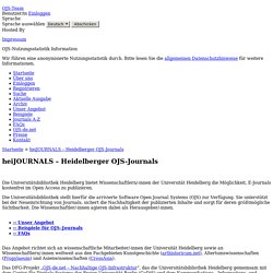 heiJOURNALS – Heidelberger OJS-Journals