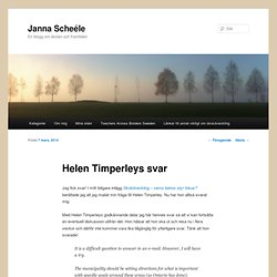 Helen Timperleys svar