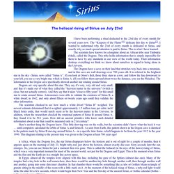 The heliacal rising of Sirius on July 23rd