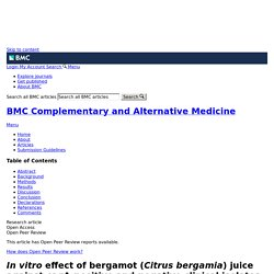 BMC COMPLEMENTARY AND ALTERNATIVE MEDICINE 30/07/15 In vitro effect of bergamot (Citrus bergamia) juice against cagA-positive and-negative clinical isolates of Helicobacter pylori