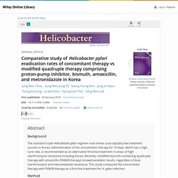 Helicobacter. 2018 Jan 25. Comparative study of Helicobacter pylori eradication rates of concomitant therapy vs modified quadruple therapy comprising proton-pump inhibitor, bismuth, amoxicillin, and metronidazole in Korea