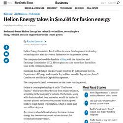 Helion Energy takes in $10.6M for fusion energy