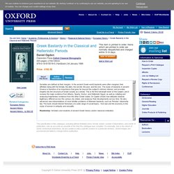 Greek Bastardy in the Classical and Hellenistic Periods: Daniel Ogd - Oxfor