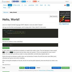 Hello, World! - Learn Java - Free Interactive Java Tutorial