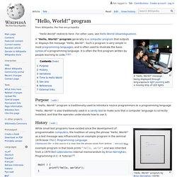 """Hello, World!"" program"