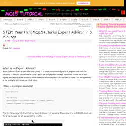 STEP1 Your HelloMQL5Tutorial Expert Advisor in 5 minutes - MQL5 TUTORIAL