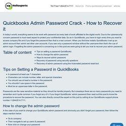 Quickbooks admin password crack