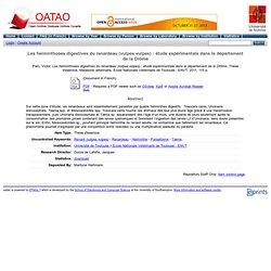 ENVT - 2011 - Thèse en ligne : Les helminthoses digestives du renardeau (vulpes vulpes) : étude expérimentale dans le départemen