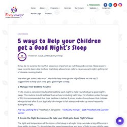 Help your Children get a Good Night's Sleep