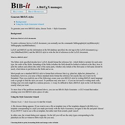 Bib-it: Help - Generate BibTeX styles