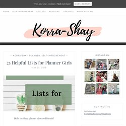 25 Helpful Lists for Planner Girls -