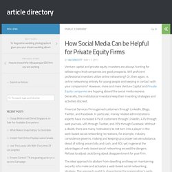 How Social Media Can be Helpful for Private Equity Firms
