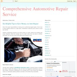 Six Helpful Tips to Save Money on Auto Repair