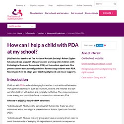 How can I help a child with PDA at my school?