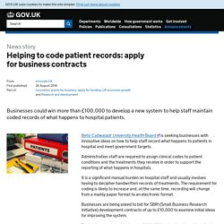 Helping to code patient records: apply for business contracts